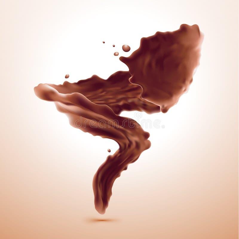 Pluśnięcie brudno- gorąca kawa lub czekolada ilustracji