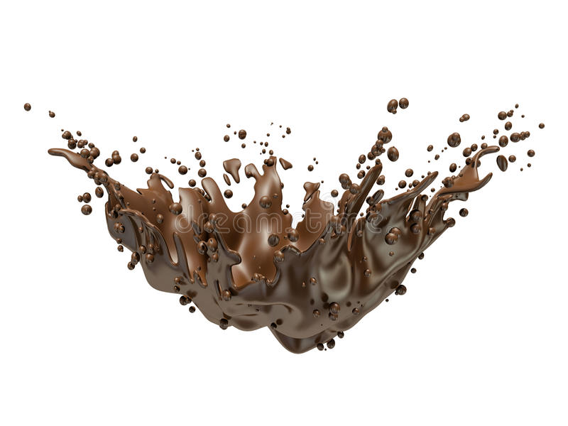 Pluśnięcie brudno- gorąca kawa lub czekolada odizolowywający royalty ilustracja