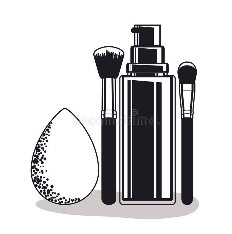 Pluśnięcie butelka z muśnięciem i kropla uzupełniamy produkty ilustracja wektor