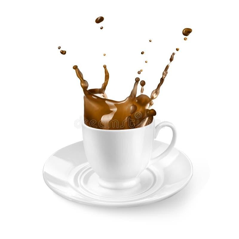 Pluśnięcie kawa w filiżance odizolowywającej na bielu obrazy stock
