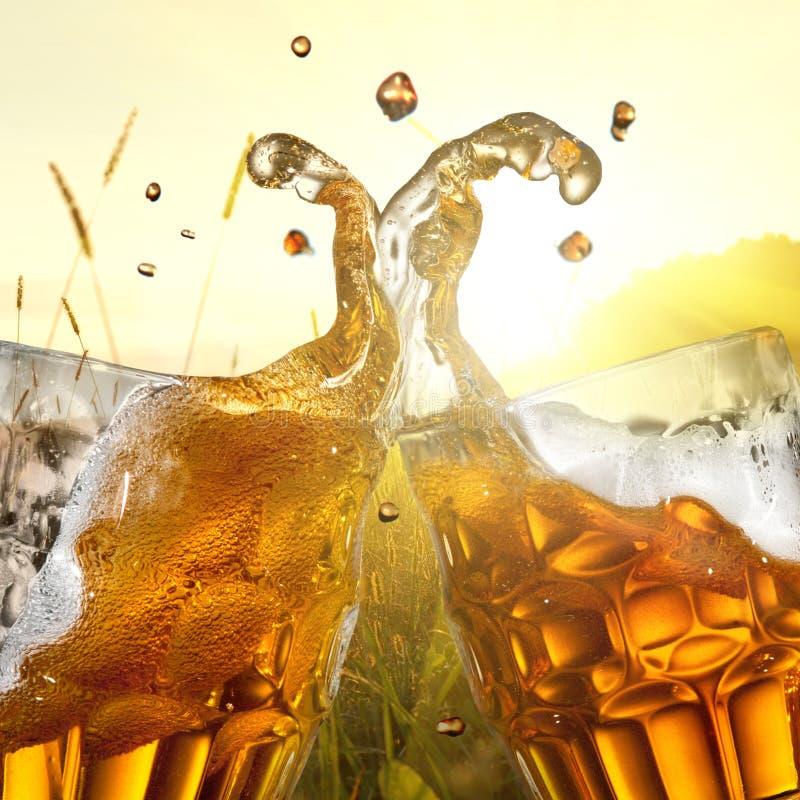 Pluśnięcie piwo przeciw pszenicznemu polu fotografia stock