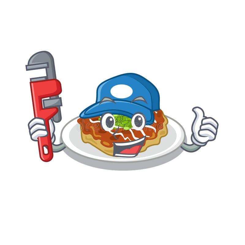 Pluber okonomiyaki podaje siÄ™ na tabliczce ilustracja wektor
