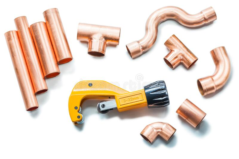 Plubing tools copper pipes and fittings with pipe cutter isolated stock photography