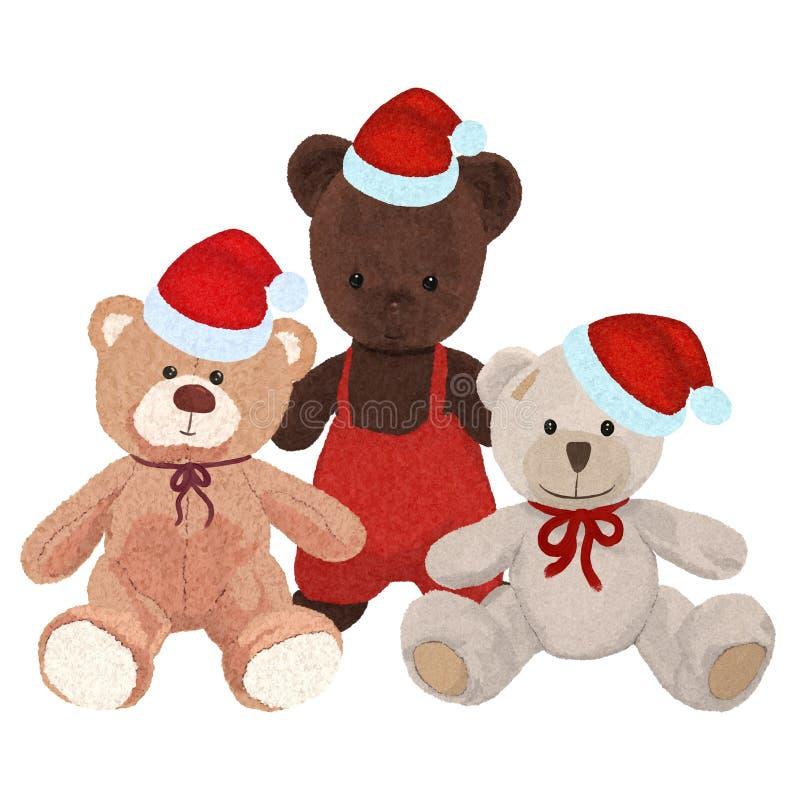 Pluche drie draagt in Kerstmiskappen vector illustratie