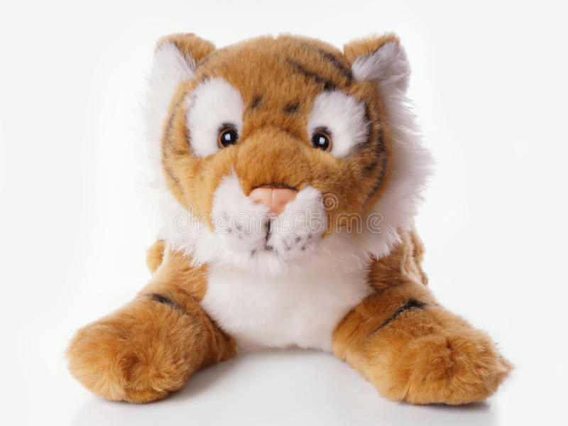 Pluchestuk speelgoed tijger stock foto's