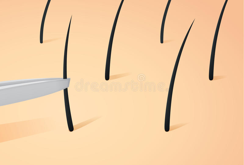 Plucking hair on skin with tweezers. stock illustration