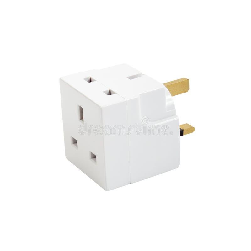 Plug adaptor. Multi plug adaptor isolated on white stock photos