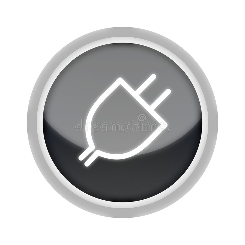 Plug-In Button In Black Royalty Free Stock Images