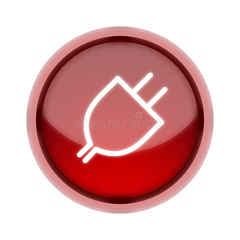 Plug-In Button In Red Stock Image