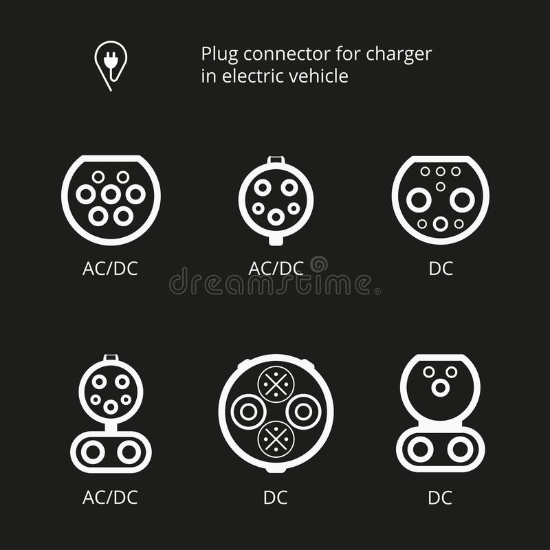Plug connector for charging electric vehicle. Vector illustration charging cord. Vehicle inlet. Icons connectors type AC and DC. royalty free illustration