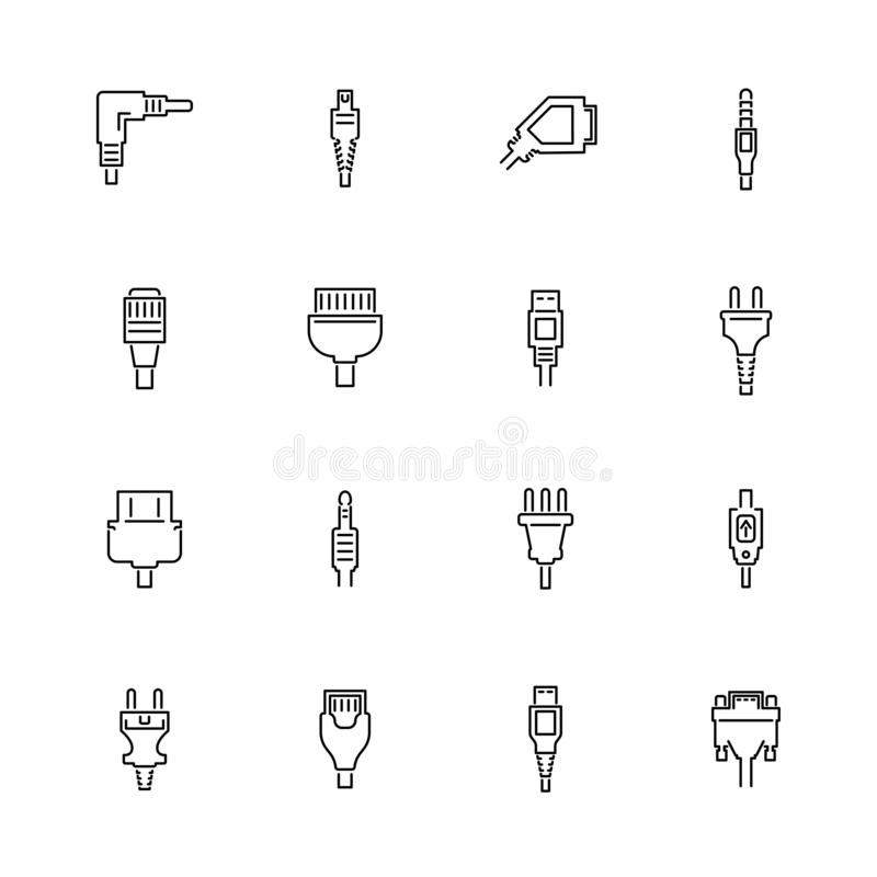 Plug - Flat Vector line Icons royalty free illustration