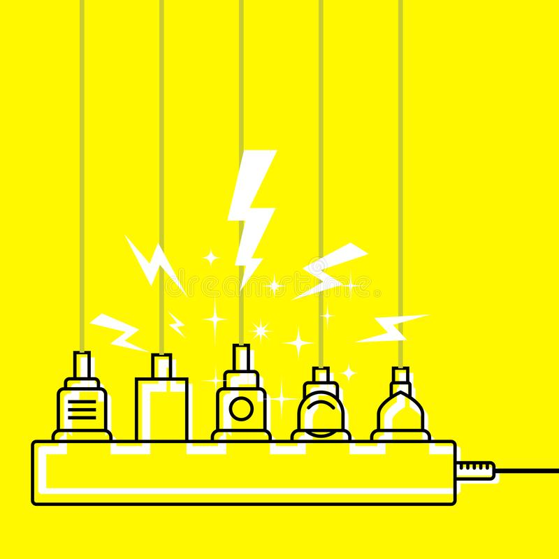 Plug in full power outlet, overload charger  - short circuit stock illustration