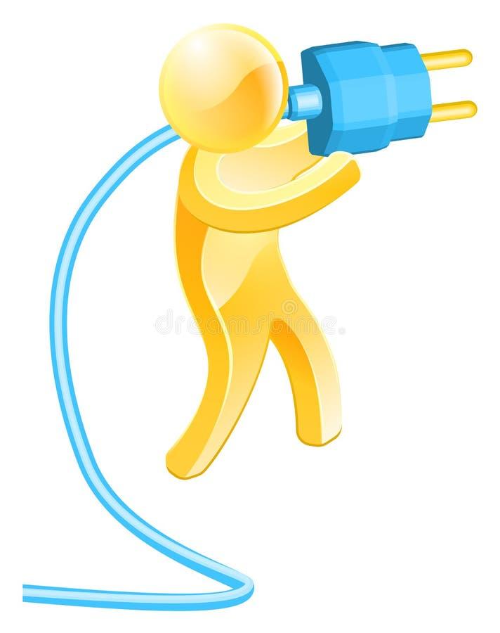 Plug gold person royalty free illustration