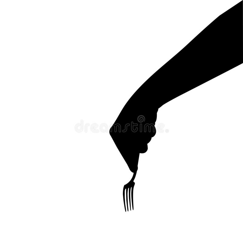 Plug in hand silhouette, vector graphic isolated on white background royalty free stock photo
