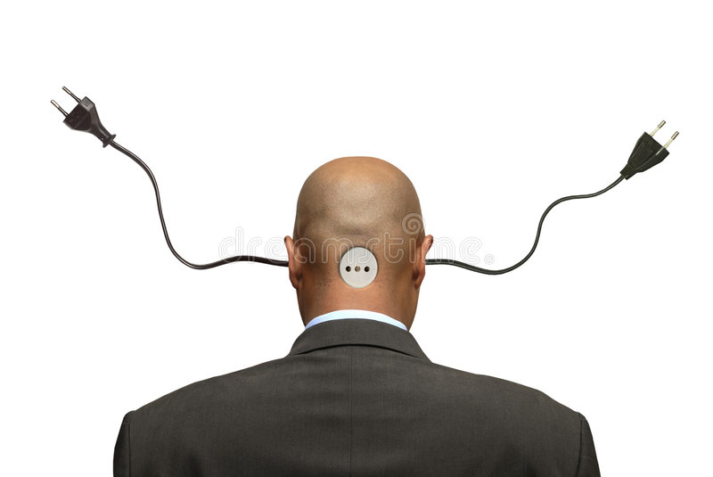 Plug head. Businessman head with plugs isolated in white stock image