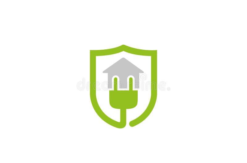 Plug House Shield Logo stock illustration