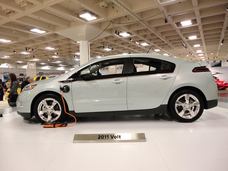 Plug-in Hybrid car Chevy Volt on display stock image