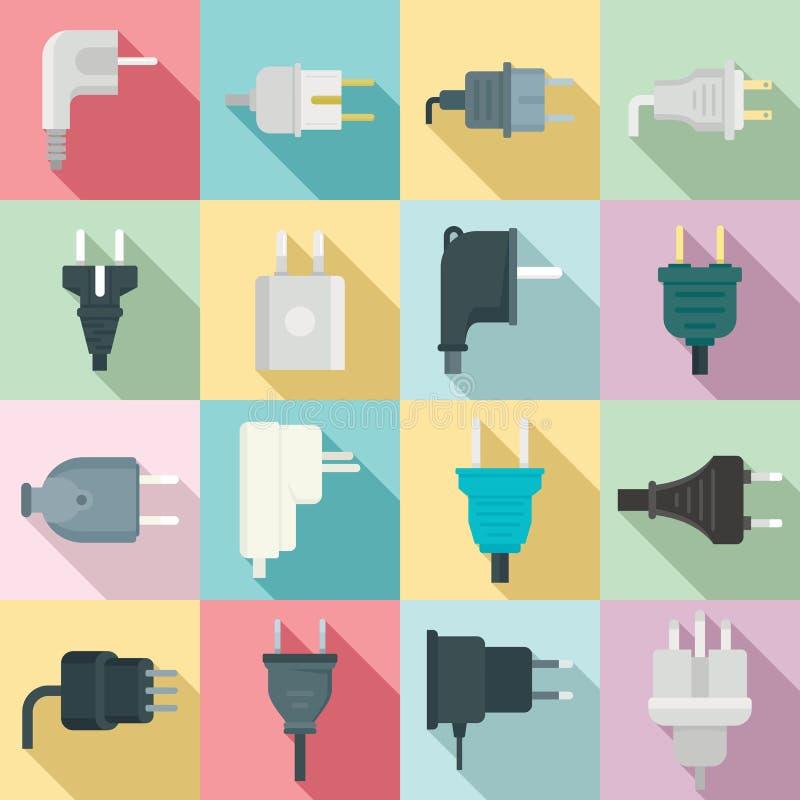 Plug icons set, flat style royalty free illustration