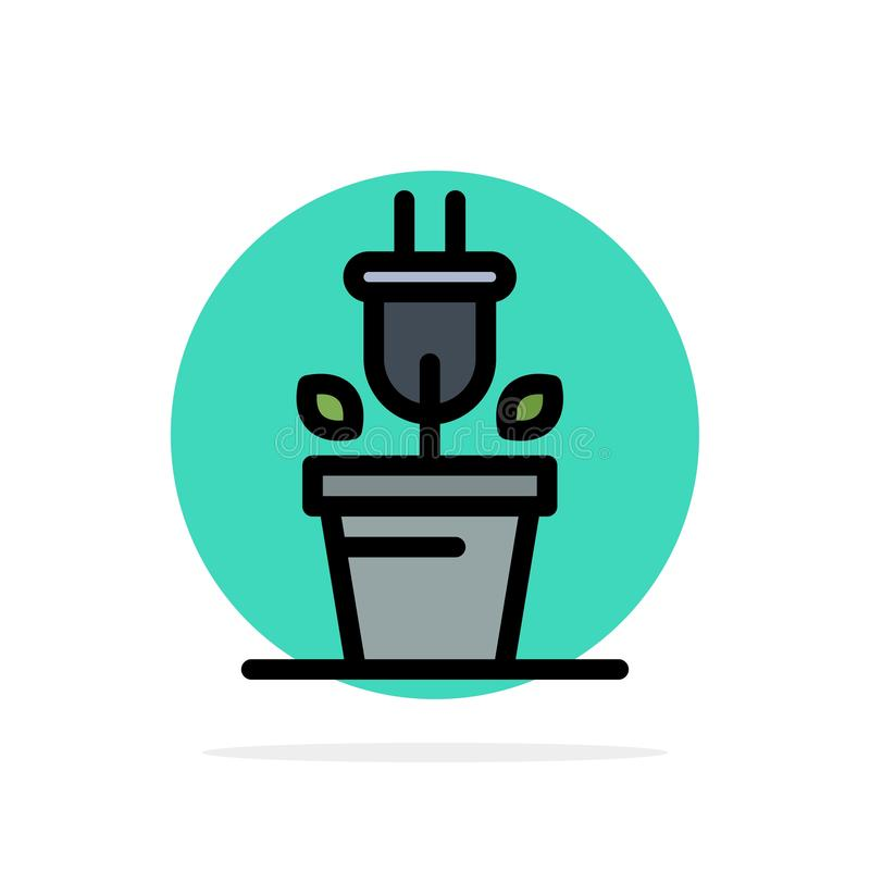 Plug, Plant, Technology Abstract Circle Background Flat color Icon royalty free illustration