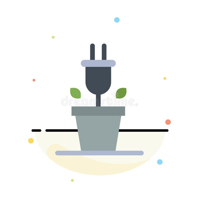 Plug, Plant, Technology Abstract Flat Color Icon Template vector illustration