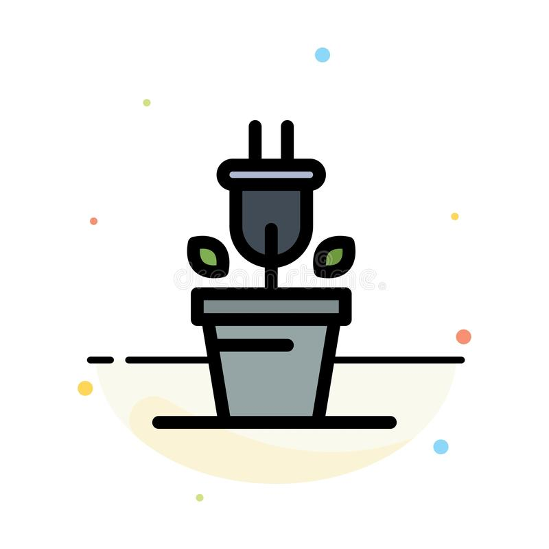 Plug, Plant, Technology Abstract Flat Color Icon Template stock illustration