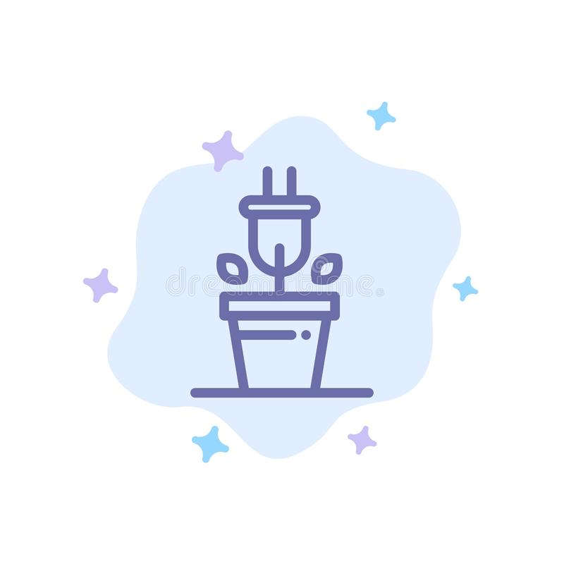 Plug, Plant, Technology Blue Icon on Abstract Cloud Background royalty free illustration