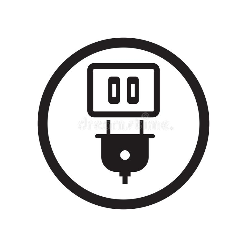 Plug Sign icon vector sign and symbol isolated on white background, Plug Sign logo concept vector illustration