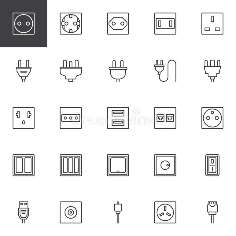 Plug and socket types outline icons set. Linear style symbols collection, line signs pack. vector graphics. Set includes icons as Light dimmer switch, wire royalty free illustration
