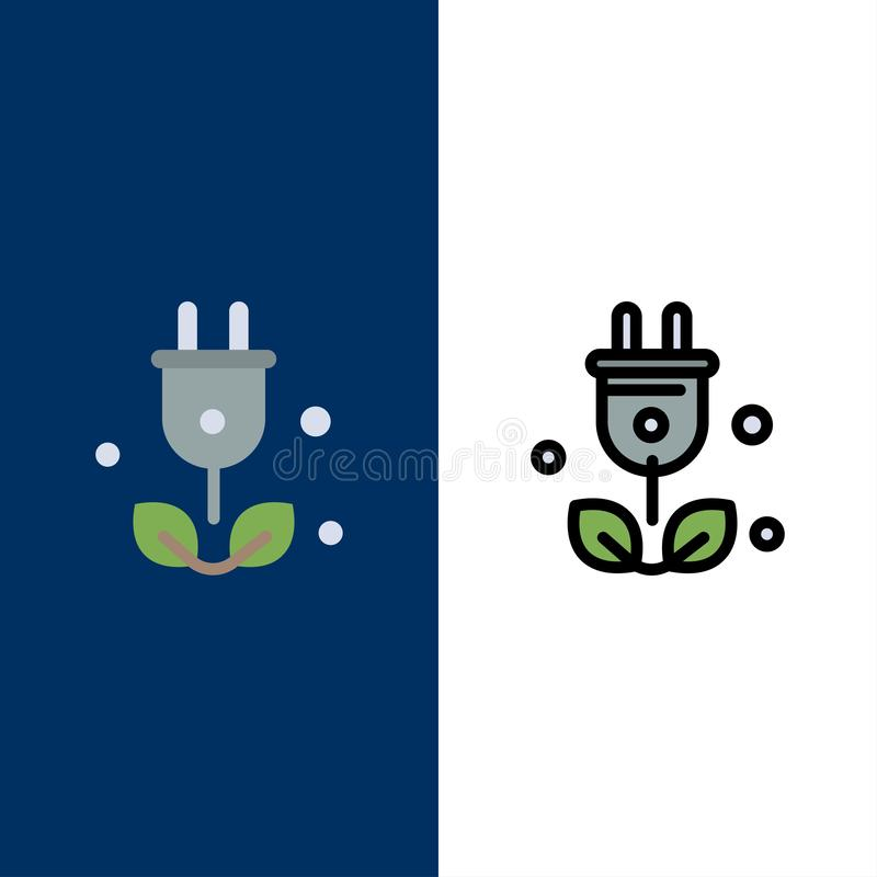 Plug, Tree, Green, Science  Icons. Flat and Line Filled Icon Set Vector Blue Background royalty free illustration