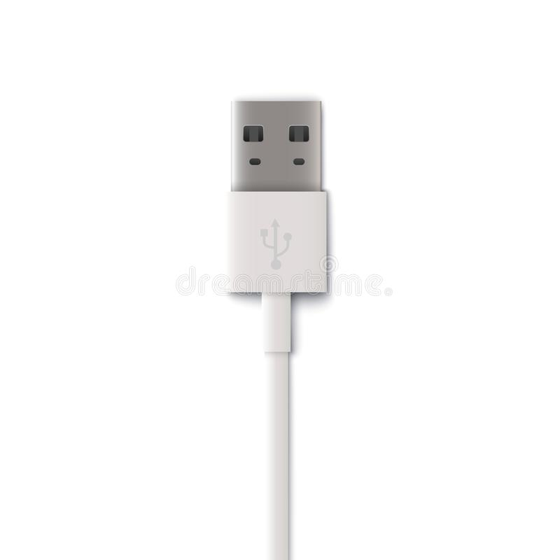 Plug white usb cable, computer technology to connect mobile devices and tablets. Realistic isolated vector illustration of usb cable stock illustration