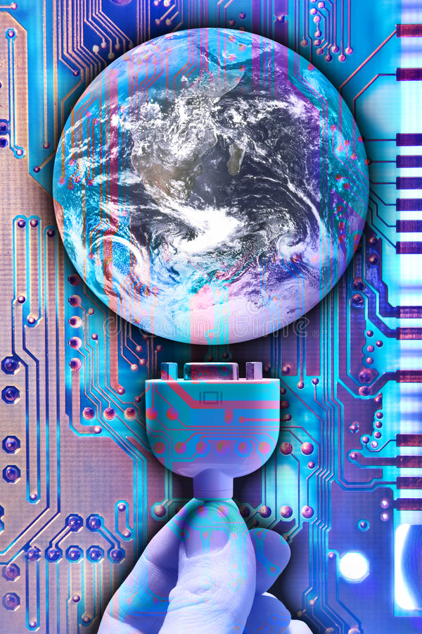 Plug into the world stock illustration