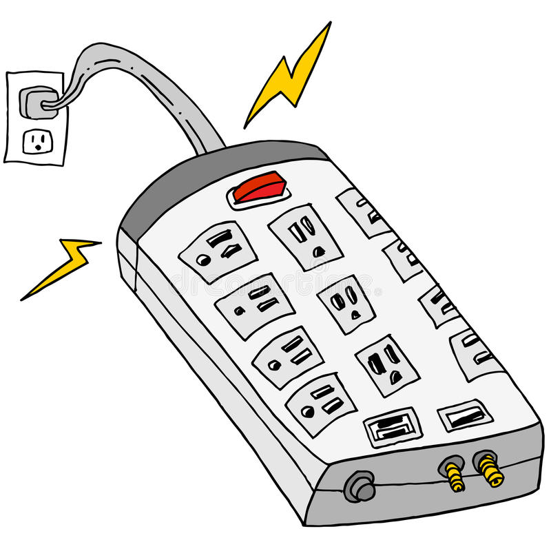 Plugged In Surge Protector stock illustration