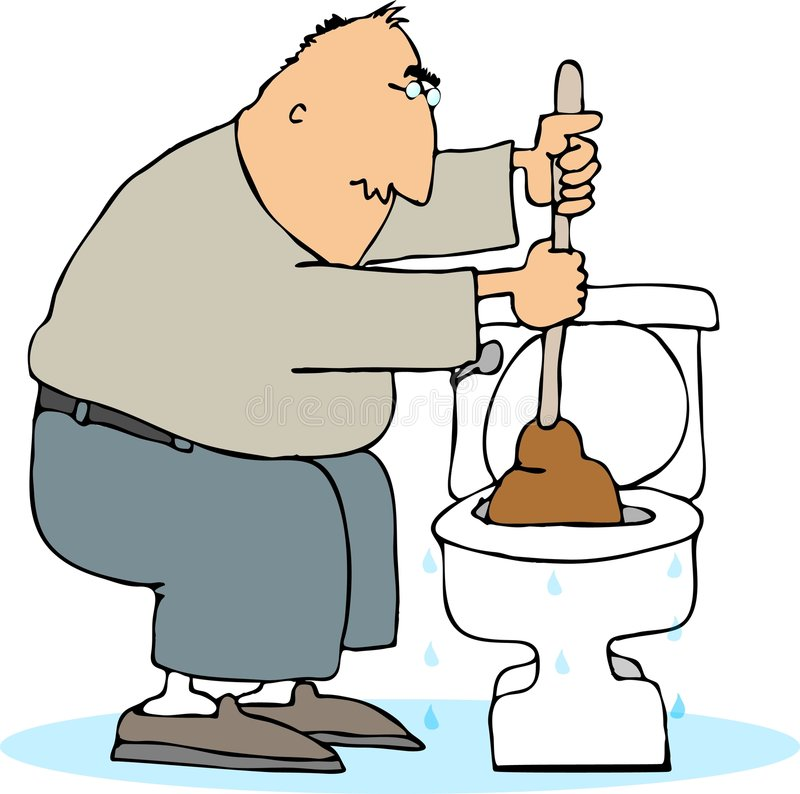 Plugged toilet stock illustration