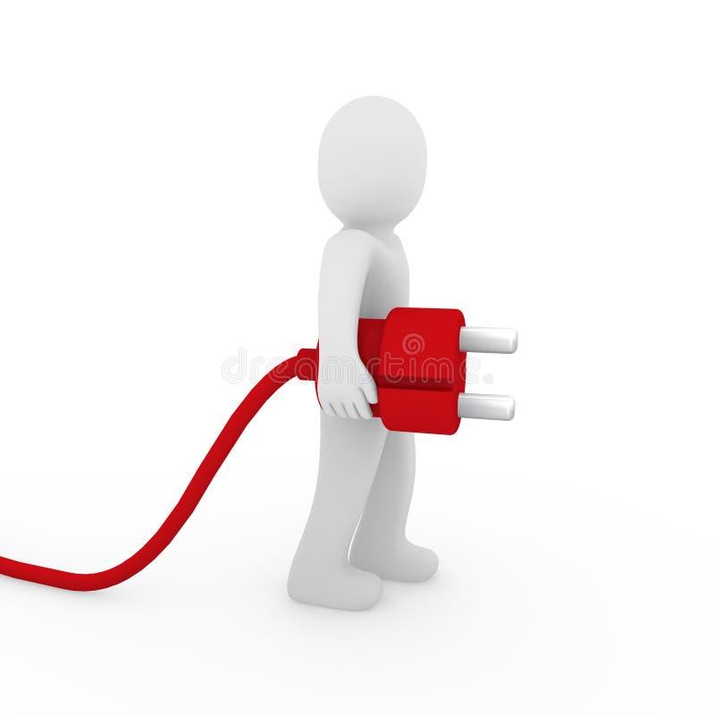plugue do vermelho do homem 3d ilustração royalty free
