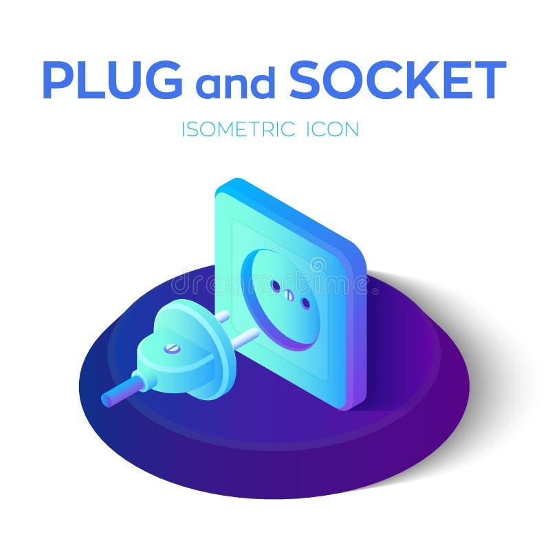 Plugue e soquete Tomada de poder e ícone isométrico elétrico do soquete 3D Apronte para conectar Conceito da bandeira elétrica da ilustração do vetor
