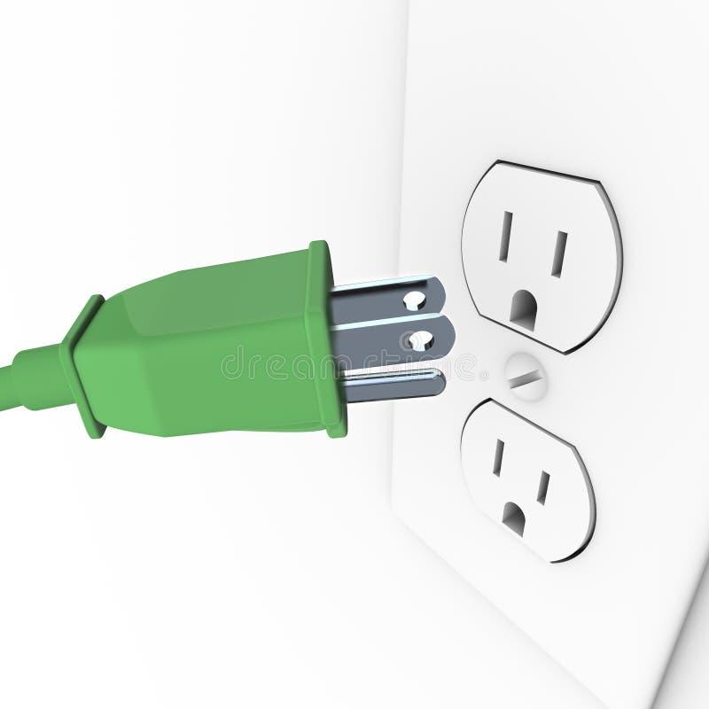 Plugue elétrico verde na tomada de parede ilustração do vetor