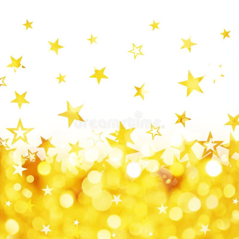 Pluie brillante de fond d'or d'étoiles images libres de droits