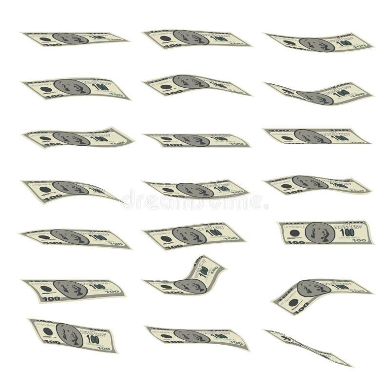 Pluie d'argent Billets de banque en baisse d'isolement sur le blanc illustration de vecteur