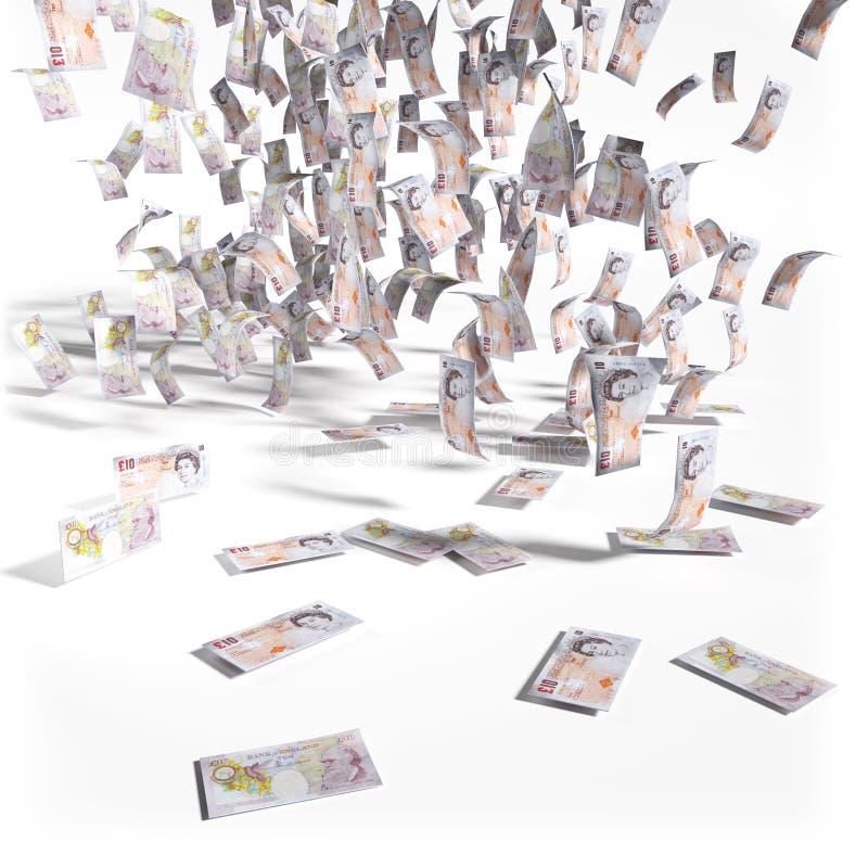 Pluie d'argent de 10 livres sterling de factures photographie stock libre de droits