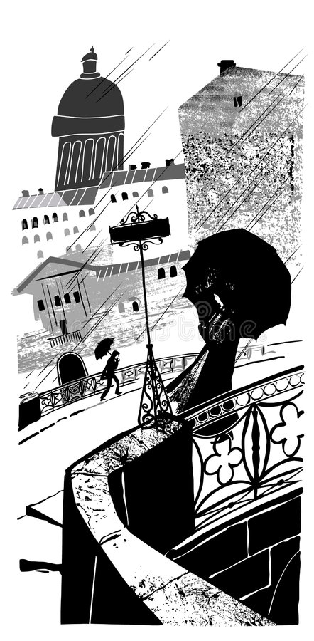 Download Pluie dans la ville. illustration de vecteur. Illustration du contraste - 8670579