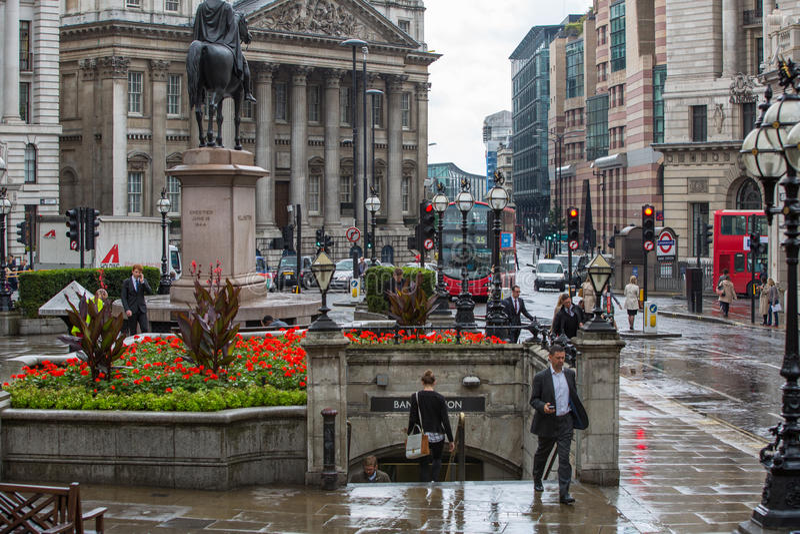Pluie dans la ville de Londres photo stock