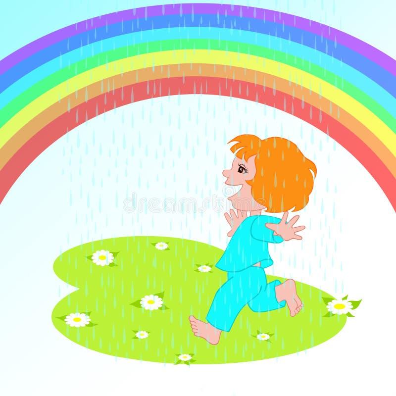 pluie de fille dessous illustration stock