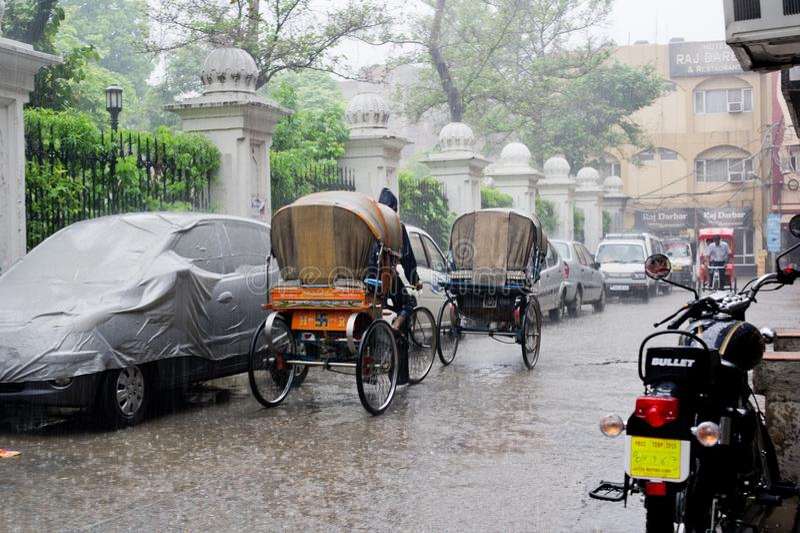 Pluie de mousson dans l'Inde images libres de droits
