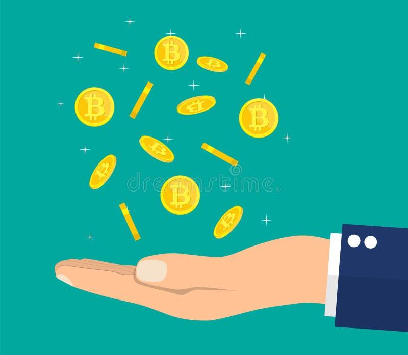 Pluie de pièce de monnaie d'or avec le signe et la main de bitcoin illustration libre de droits