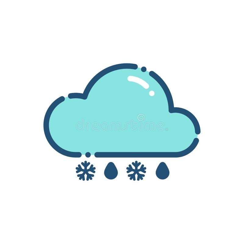 Pluie de temps avec le contour d'icône de neige illustration de vecteur