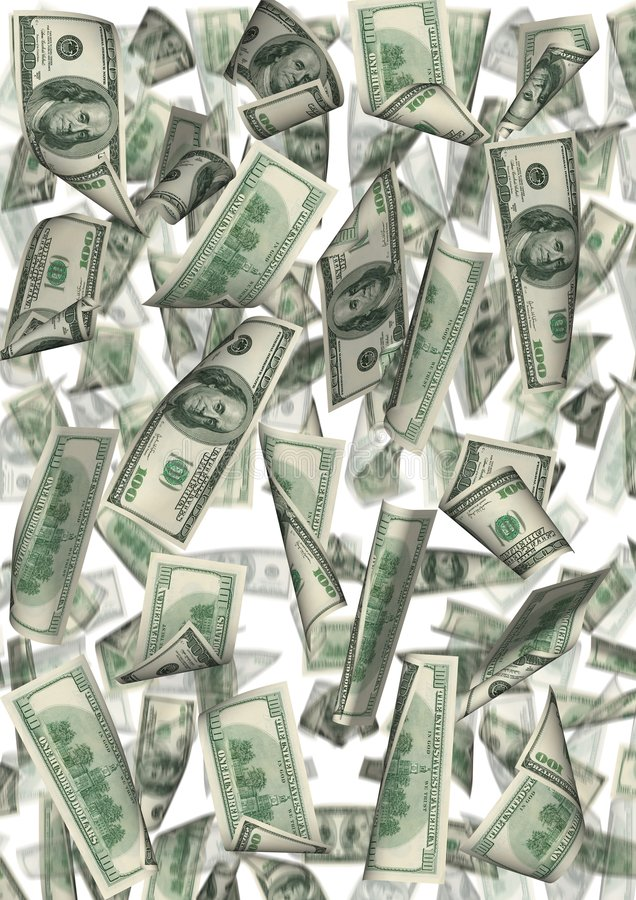 Pluie du dollar d'isolement illustration libre de droits