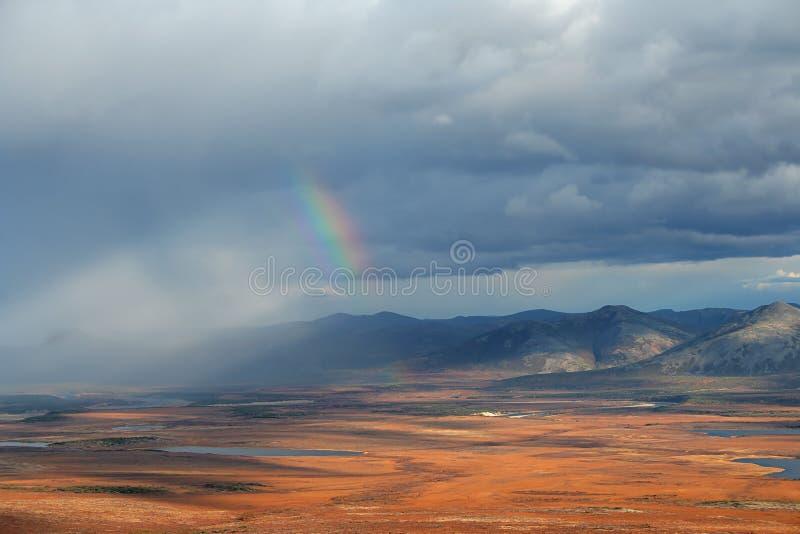 Pluie et arc-en-ciel borgnes image stock