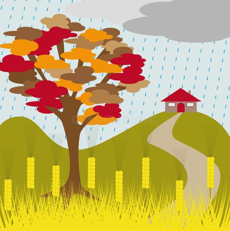 Pluie et blé d'arbre d'automne illustration de vecteur