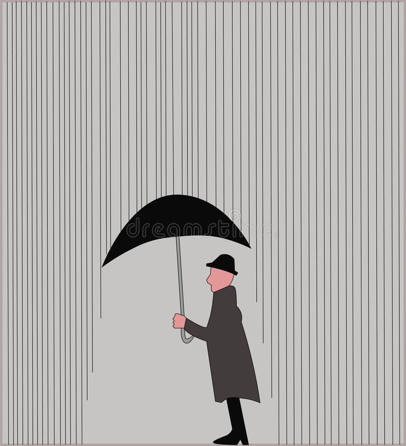 Pluie et homme dans le vrai mot illustration libre de droits
