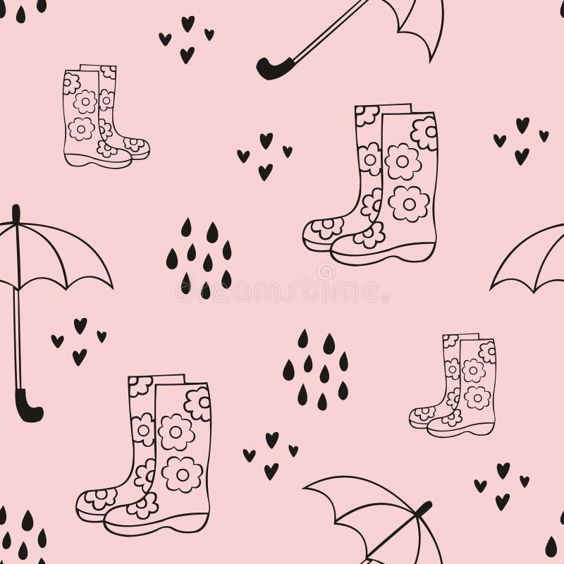Pluie Modèle sans couture mignon avec des bottes en caoutchouc et un parapluie Fond décoratif de vecteur pour la conception illustration de vecteur